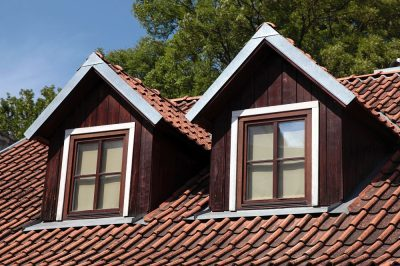 Two garret windows on tile roof